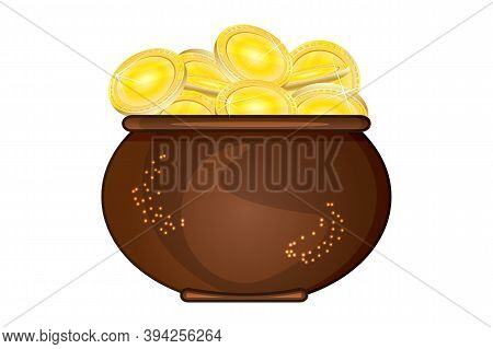 Pot Of Gold Isolated On White Background. Brown Cauldron Full Of Golden Coins. Saint Patricks Day. L