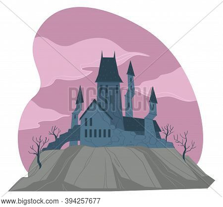 Gloomy Medieval Castle Or Fortress With Towers