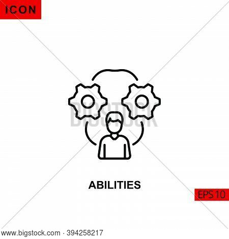 Icon Abilities. Outline, Line Or Linear Vector Icon Symbol Sign Collection For Mobile Concept And We