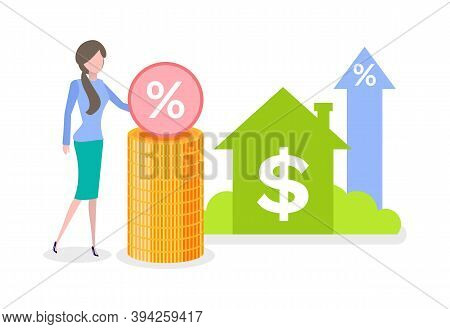 Coins And Credit Icons, Percent Of Money Invest, Rising Arrows And House, Money Objects And Woman, B