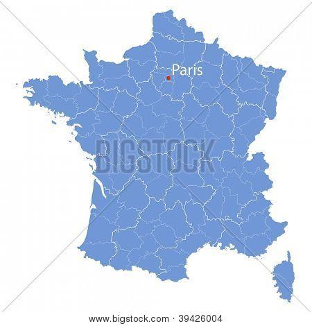 stylized map of France on white background