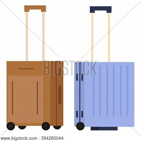 Suitcase On Wheels, Isolated Object Vector. Baggage Or Luggage, Summer Vacations Abroad, Journey Or