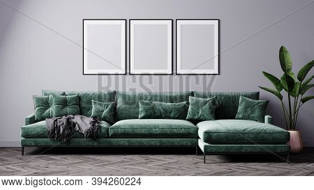 Mockup Luxury Dark Living Room Interior Background, Living Room Mock Up, Modern Living Room With Gre