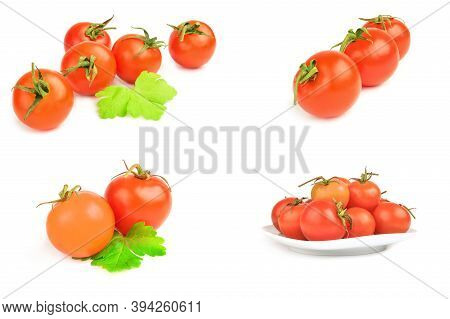 Group Of Tomatoes Cherry Isolated On A White Cutout