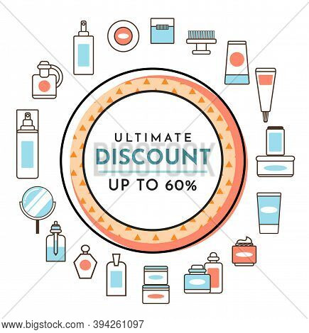 Ultimate Discount Perfume Shop Poster. Sale Banner Template Design, Big Sale Special Up To 60 Off. S