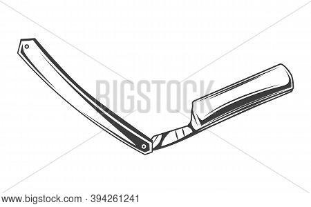 Straight Razor Icon. Shaver Tool With Dangerous Blade. Vintage Flat Shaving Razor Icon From Hygiene