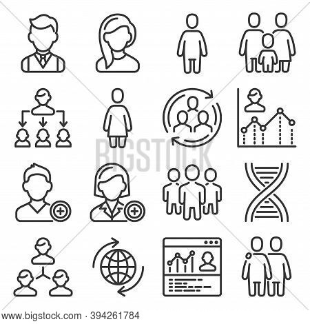 Population People Icons Set On White Background. Vector