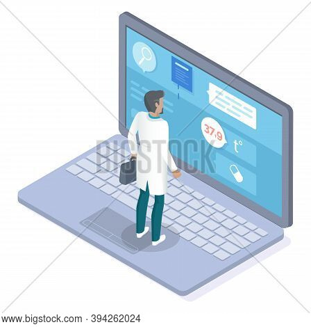 Bearded Doctor In Medical Uniform With Briefcase Stands On Cartoon Laptop And Remotely Consults Pati