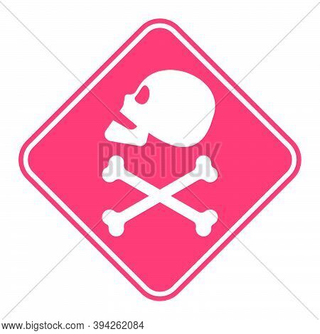 Human Skull In Profile And Crossbones. Isolated Illustration In Flat Style On A Red Warning Square.
