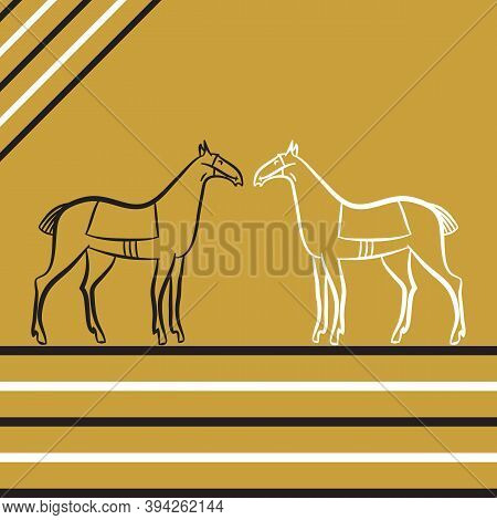 Two Saddled Stallions Silhouettes. Black And White Horses Stand Opposite Each Other. Horse Racing. D