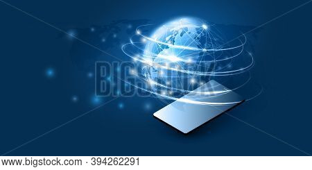 Abstract Blue Minimal Style Cloud Computing, Networks, Telecommunications Concept Design With Glowin