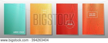 Wave Halftone Backgrounds Simple Cover Pages Vector Collection. Vivid Wavy Lines Halftone Patterns M