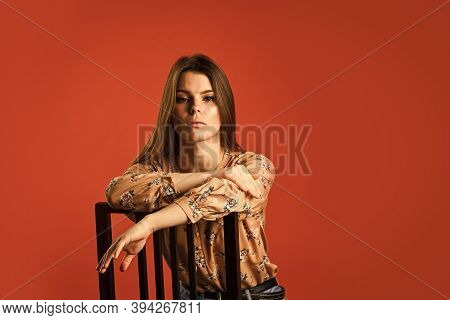 Female Fashion Style. Girl Has Long Hair. Thinking Concept. Lost In Her Thought. Feeling Loneliness.