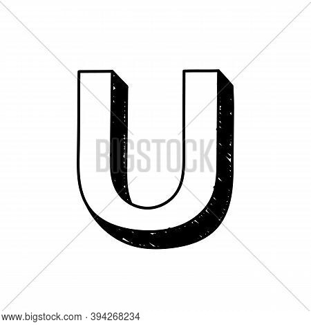 U Letter Hand-drawn Symbol. Vector Illustration Of A Big English Letter U. Hand-drawn Black And Whit