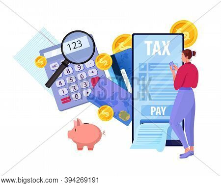 Online Tax Report And Payment Vector Concept With Young Woman Filling Payroll In Internet Using Smar