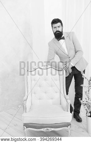Groomed Bearded Man On Special Event. Its Wedding Day. Stylish Art Director. Real Esthete In All Det