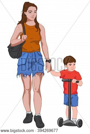 Young Mother In Jeans Skirt And Brown T-shirt Holding Hands With Her Son Dressed In Red And Blue Clo