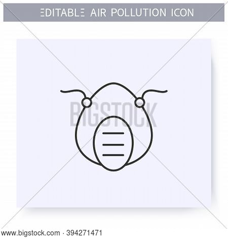 Filtering Facepiece Line Icon. Biohazard Vapors Respiratory Protection.industrial Pollution N95 Face