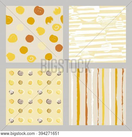 Set Of Light Boho Style Pattern In Natural Shades For Clothing And Surface Design In Irregular Polka