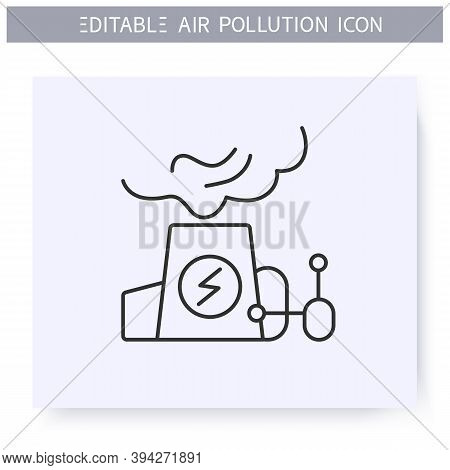 Power Plants Emissions Line Icon. Factory Pipe Vaping Toxic Biohazard Fumes. Smog. Greenhouse Effect