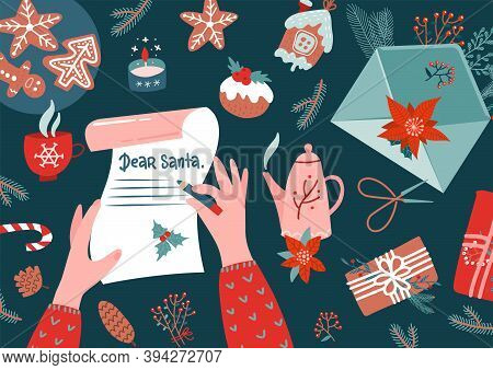 Character Hands With Pen Writing Letter To Santa Claus. Envelope, Fur Branches, Holly, Stocking, Gif