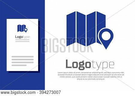 Blue Location Of The Forest On A Map Icon Isolated On White Background. Logo Design Template Element