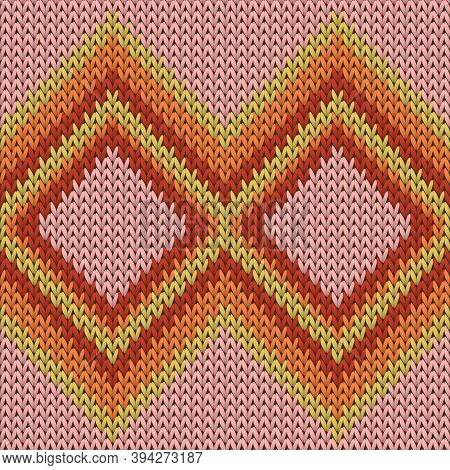 Trendy Rhombus Argyle Christmas Knit Geometric Vector Seamless. Plaid Knitting Pattern Imitation. No