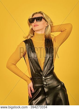 Fashionable Woman In Tight Leather Latex Dress. Sexy Fashion Model. Fashion Portrait. Sexy Woman. Tr