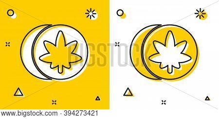 Black Herbal Ecstasy Tablets Icon Isolated On Yellow And White Background. Random Dynamic Shapes. Ve