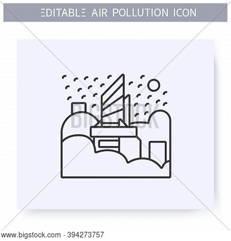 City In Smog Line Icon. Haze. Industrial Emissions, Air Pollution. Greenhouse Effect. Environment Po