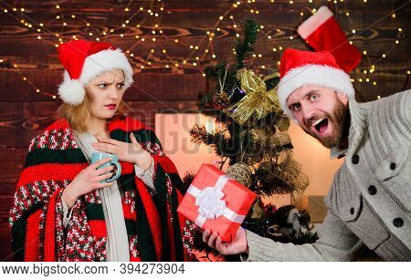 Prepare Surprise For Darling. New Year Tradition. Guess Her Desire. Winter Surprise. Man Giving Gift