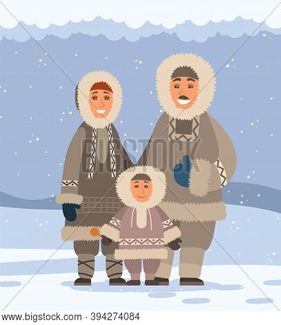 Mom, Dad, Baby On Snowy Background. Family Of Northern Arctic Polar Smiling Inhabitants In Tradition