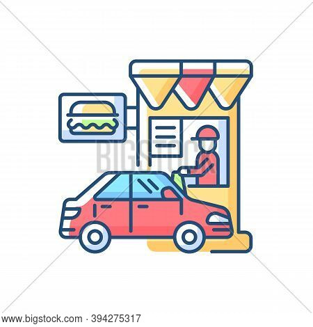 Drive Through Restaurant Rgb Color Icon. Fast Food Cafe With Car Lane. Retail, Commercial Service. C