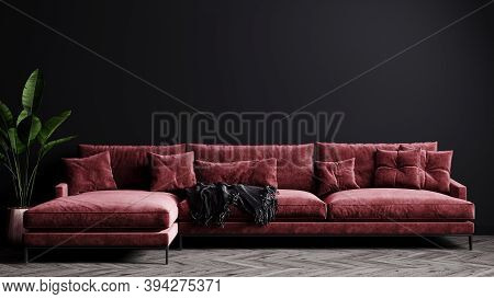 Home Interior, Luxury Modern Dark Living Room Interior, Black Empty Wall Mock Up With Red Sofa, 3D R