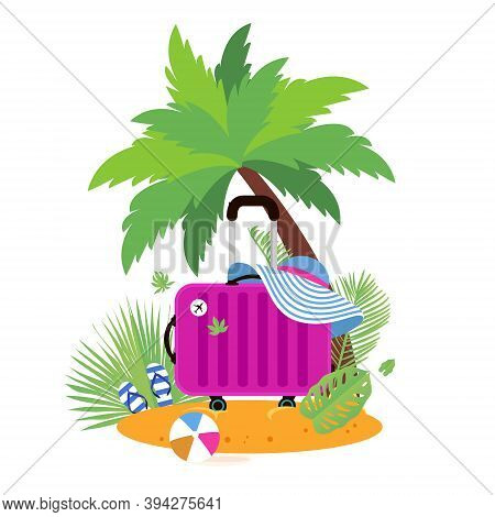 Pink Suitcase On The Beach. Travel Bag With Hat On The Sunny Beach. Flipflop, Ball And Palm. Summer