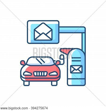 Drive Through Mailbox Rgb Color Icon. American Post Office With Transport Lane. Send Package, Corres