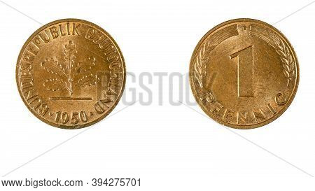 Authentic 1 Pfennig Coin Federal Republic Of Germany 1950,obverse And Reverse Side On White Backgrou