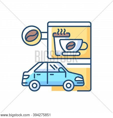 Drive Through Coffee Shop Rgb Color Icon. Transport Lane For Store Customer. Coffeeshop Takeout Orde