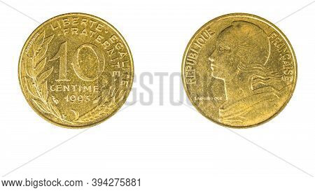 Authentic French 10 Centimes Coin Year 1993 Obverse And Reverse Side On White Background,macro Close