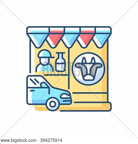 Drive Through Dairy Shop Rgb Color Icon. Milk Supermarket. Convenience Store For Drivers. Transport