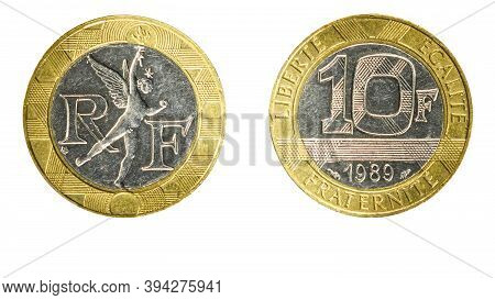 Authentic 10 French Franc Coin Year 1989 Obverse And Reverse Side On White Background,macro Close Up