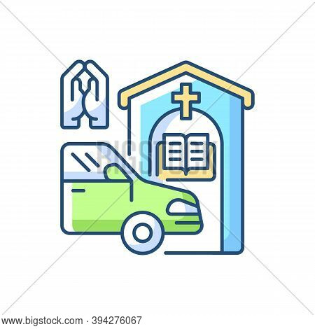 Drive Through Prayer Booth Rgb Color Icon. Car Near Small Church. Chapel Services For Driver. Religi
