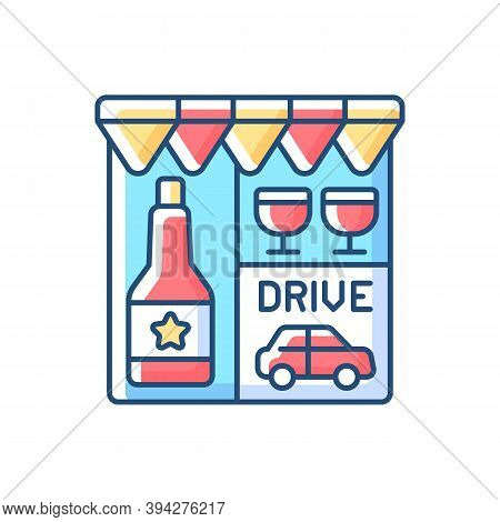 Drive Through Liquor Store Rgb Color Icon. Alcohol And Spirits. Alcoholic Drinks In Shop. Booze To B