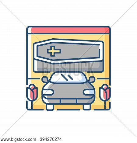 Drive Through Funeral Home Rgb Color Icon. Bury Coffin. Ritual Transportation. Memorial Ceremony On