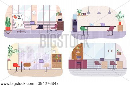 Set Of Office Workplace Interior Design. Business Objects, Elements And Equipment. Modern Office Wit