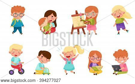Cute Little Boys And Girls Playing Toys And Having Fun Vector Set