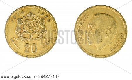 Authentic Moroccan 20 Centimes Coin Year 1974 Obverse And Reverse Side On White Background, Macro Cl