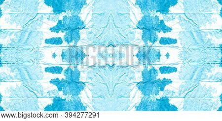 Texture Paper Vintage. Tie Dye Print. Old Vintage Fabric Design. Rough Abstract Scribble. Blue And W
