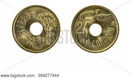 Authentic Spanish Coin 25 Pesetas Year 1994 Obverse And Reverse View Macro Close Up On White Backgro