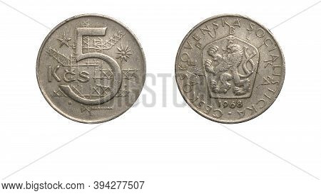 Czechoslovakian Coin 5 Koruny Currency Year 1968 Obverse And Reverse Side,macro Close Up On White Ba
